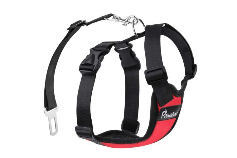 PAWABOO Dog Safety Vest Harness, Pet Dog Adjustable Car Safety Mesh Harness Travel Strap Vest with Car Seat Belt Lead Clip.