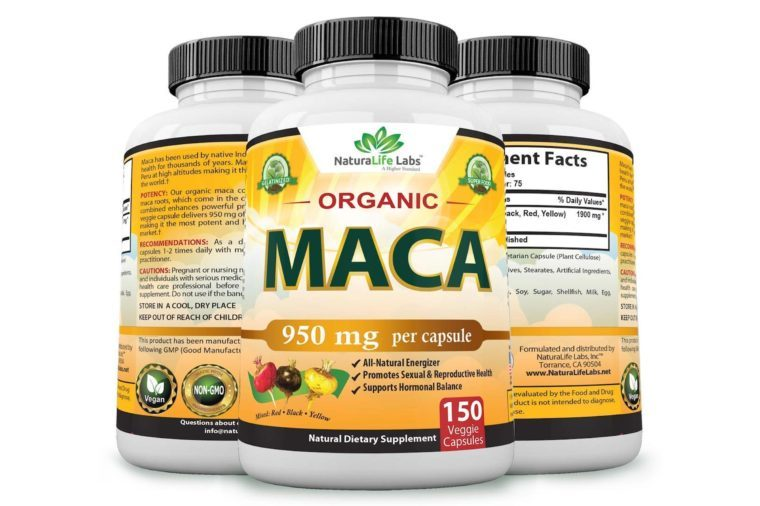 Organic Maca Root Black, Red, Yellow 950MG per capsule 150 vegan capsules Peruvian Maca Root Gelatinized 100% Pure Non-GMO supports Reproductive Health Natural Energizer