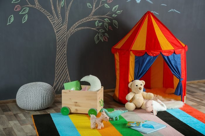 Interior of colorful playing room for kids