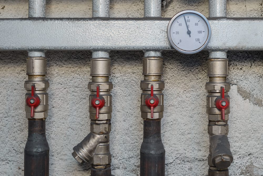 Piping and valving of household central heating system
