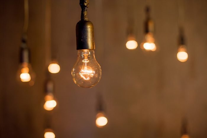 Abstract background with many lamps, the light, concept of good ideas
