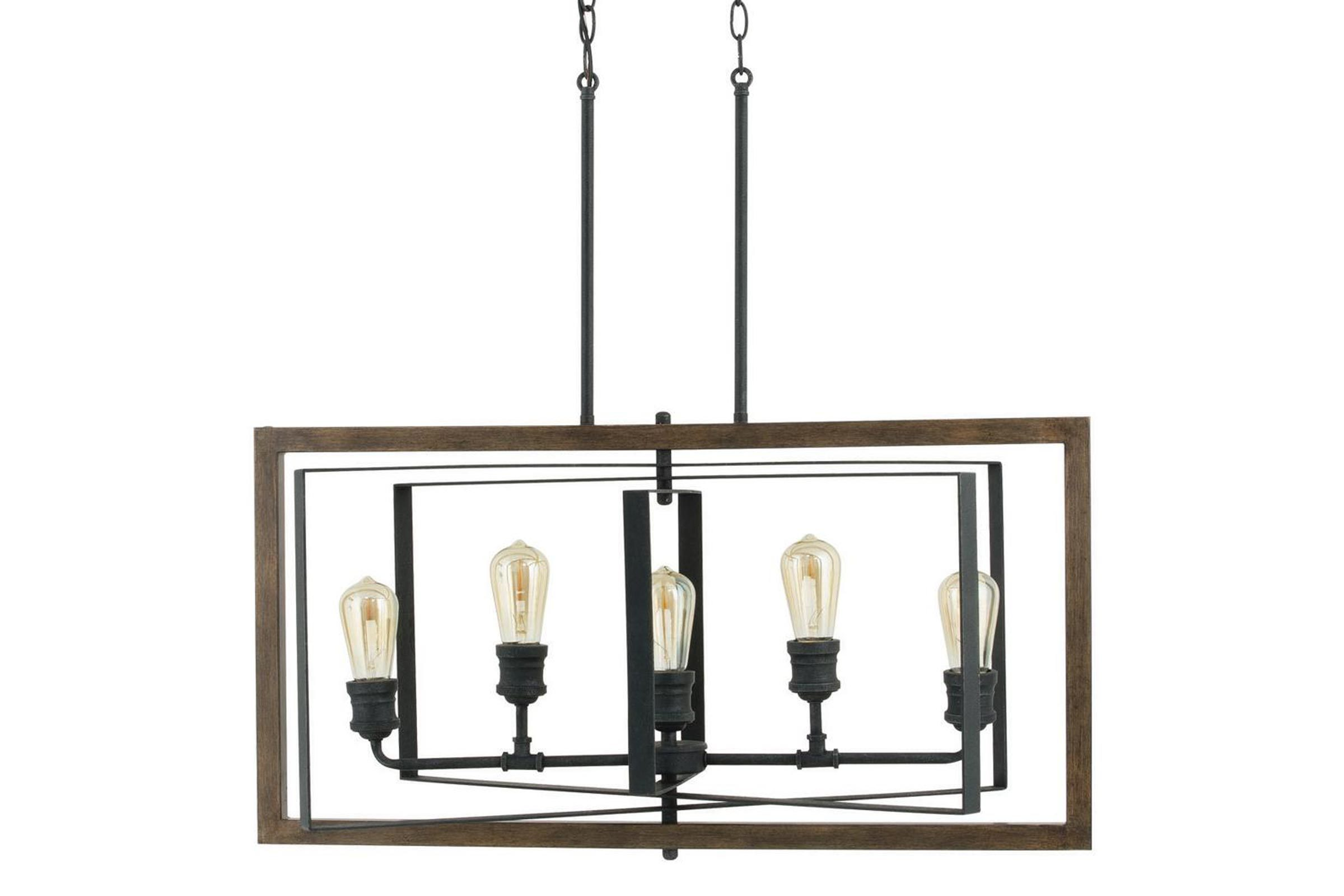 Palermo Grove 31.88 in. 5-Light Black Gilded Iron Linear Chandelier