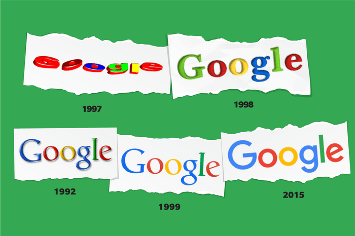 Images of Google logos through time