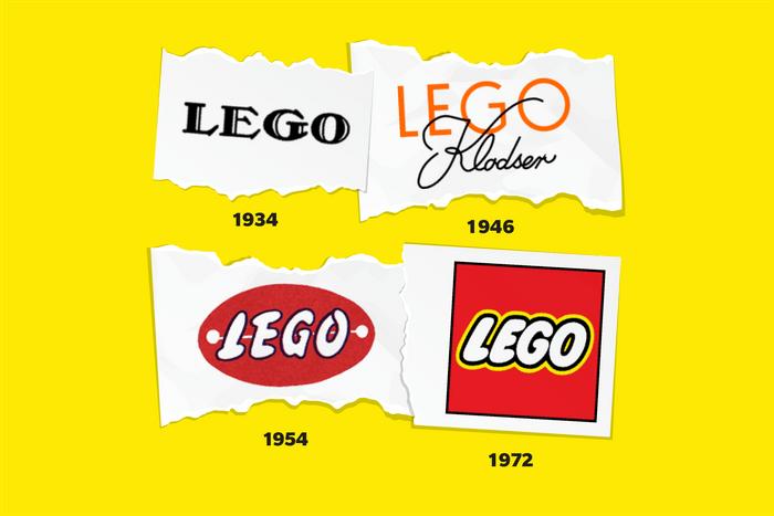 Images of Lego logos through time