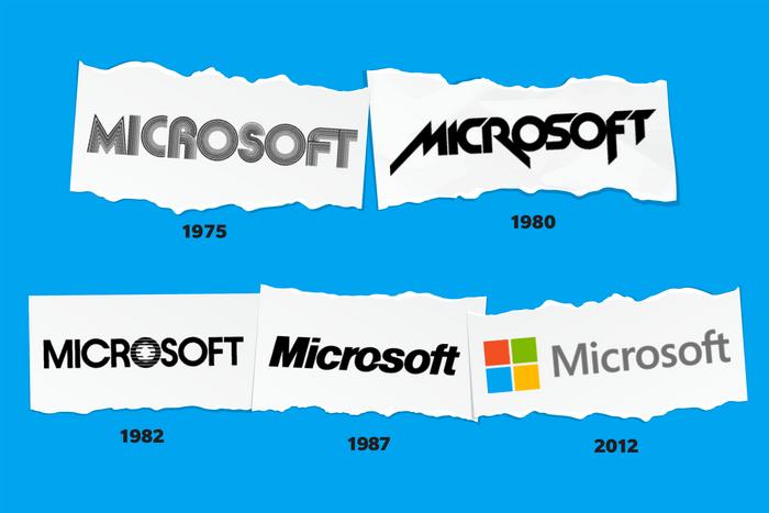 Images of Microsoft logos through time