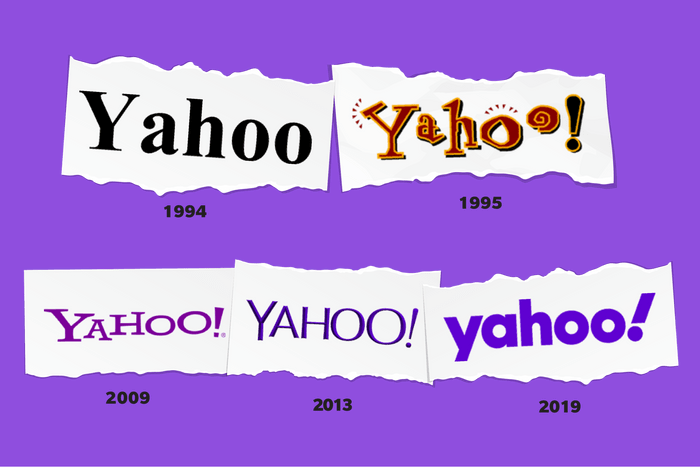 Images of Yahoo logos through time