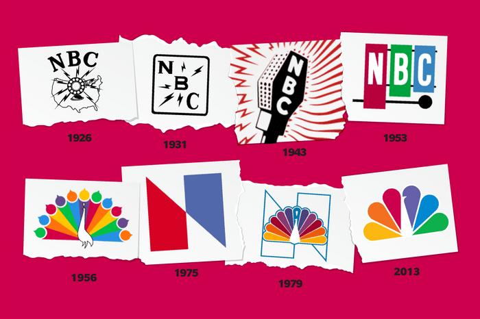 Images of NBC logos through time