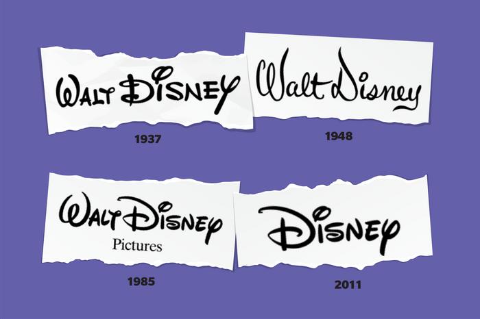 Images of Walt Disney logos through time