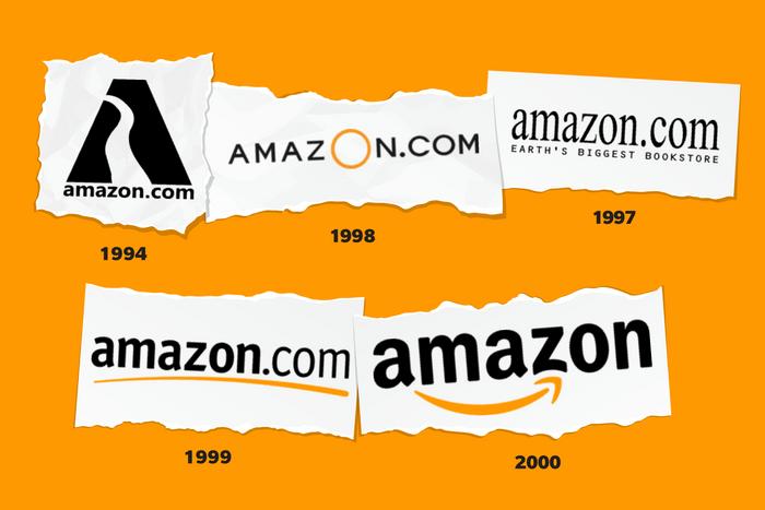 Images of Amazon logos through time
