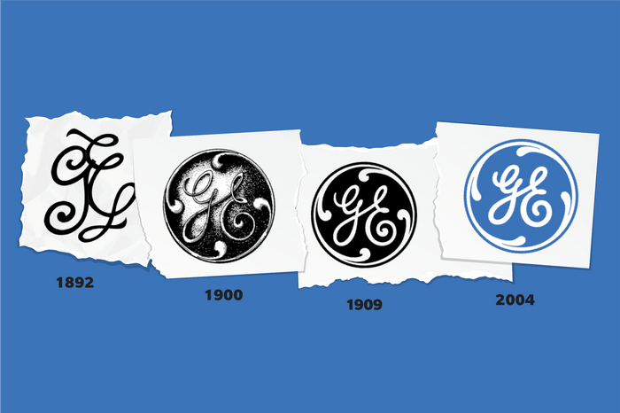 Images of General Electric logos through time