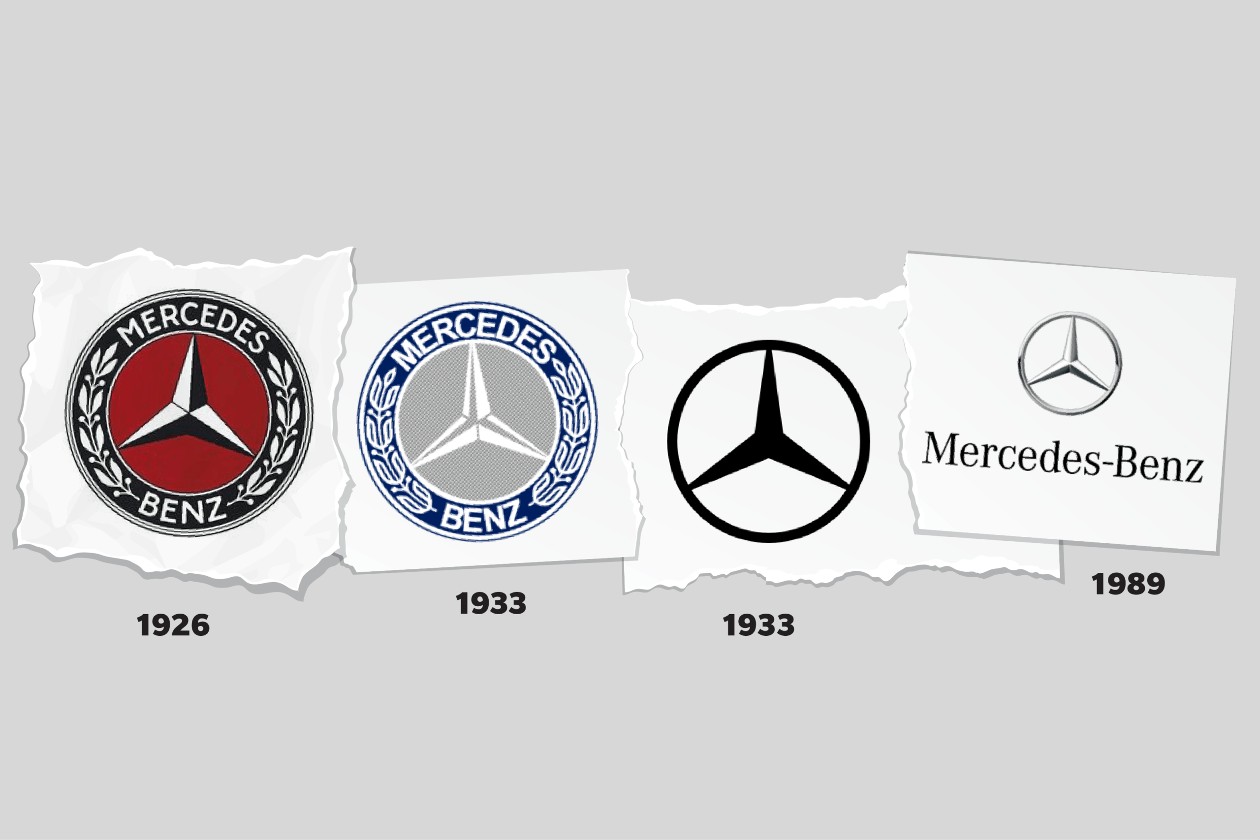 Images of Mercedes-Benz logos through time