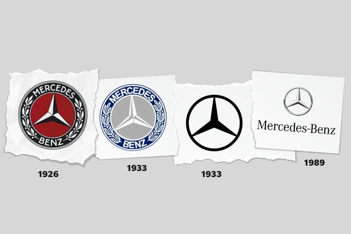 Images of Mercedes-Benz logos through time