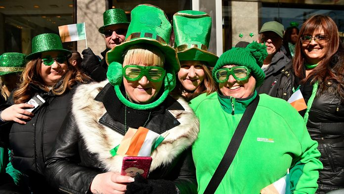 spectators along the route of the nyc st patrick's day parade 2018