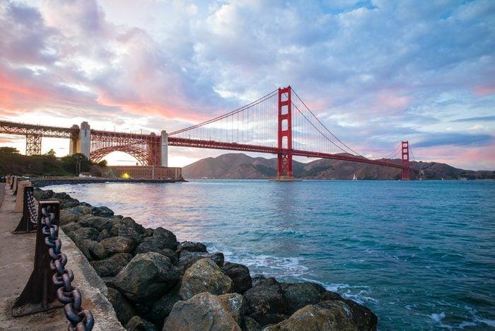 Golden Gate Bridge Dusk At Sunset. View from Fort Point. San Francisco, California San Francisco, USA.
