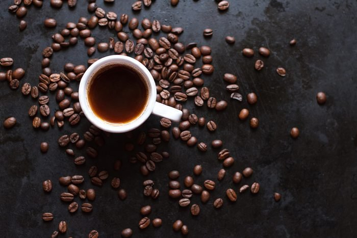 cup of coffee on a dark background