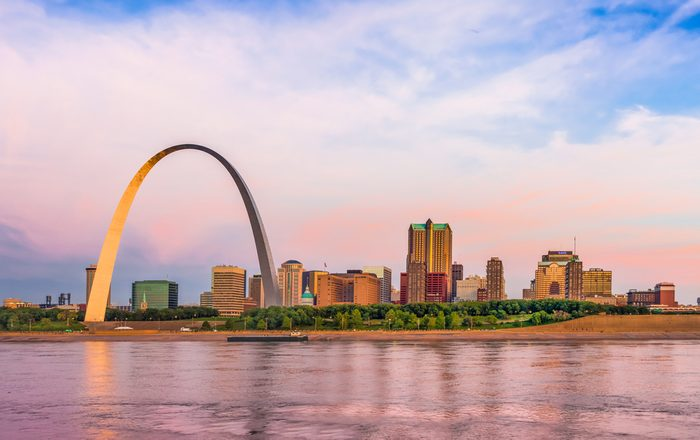 St. Louis skyline panorama including the Gateway Arch