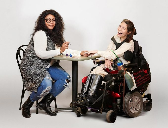 Woman helps after a salon turns away physically challenged woman.