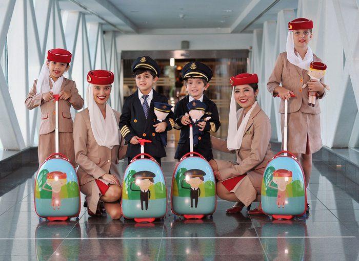 flight attendant emirates with children