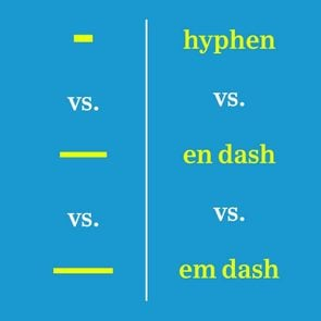 various types of dashes compared
