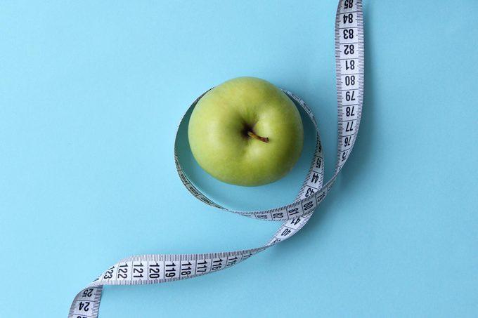 diet measuring tape apple