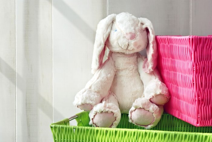 Adorable generic stuffed bunny with colorful storage containers. Sunlight from side window for effect.