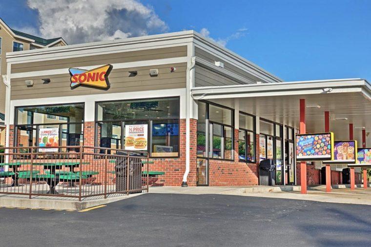 HDR image, Sonic restaurant drive up parking - Lynnfield, Massachusetts USA - September 9, 2017