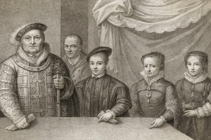 Historical Collection 3 King Henry Viii (1491 - 1547) with His Three Children Edward (vi) Mary (i) and Elizabeth (i) with the Court Jester Will Sommers Lurking in the Background circa 1547