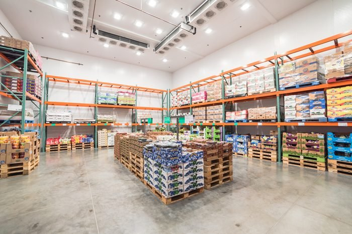 HUMBLE, TX, US - JUN 30, 2017:Fresh produce refrigerated room in a Costco store. Costco Wholesale Corporation is largest membership-only warehouse club in United States, known for its low-price offers