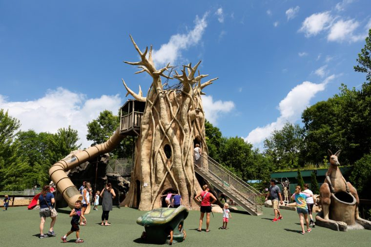 Madison, Wisconsin - July 8, 2017: The playground of Henry Vilas Zoo at Madison. The zoo offering free entry, this zoo features animals from around the world, plus gifts, food & treats.