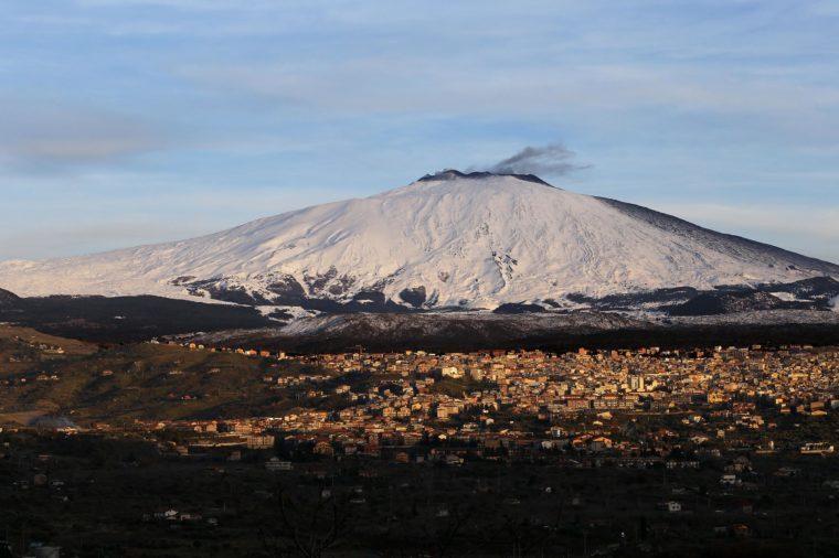 Mount Etna emits ash, Sicily, Italy - 27 Jan 2019