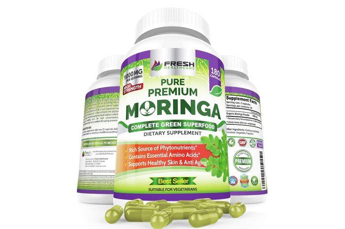 Organic Moringa 180 Capsules – 100% Pure Leaf Powder - Max 1000mg Per Serving - Complete Green Superfood Supplement - Full 3 Month Supply - Miracle Tree Organic Moringa Oleifera Powder Vegan Caps