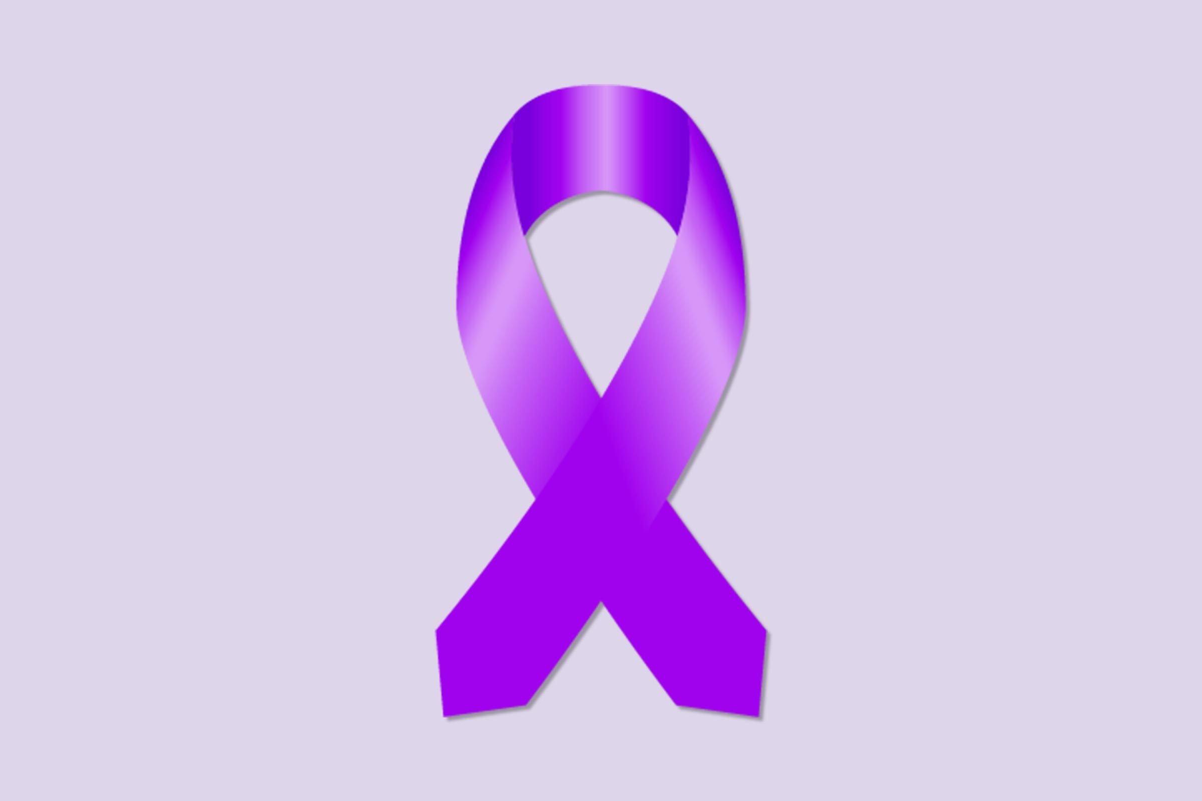 dark purple ribbon for pancreatic cancer