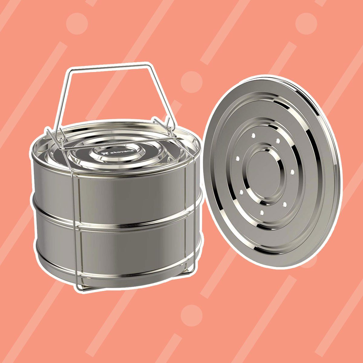 ekovana Stackable Stainless Steel Pressure Cooker Steamer Insert Pans