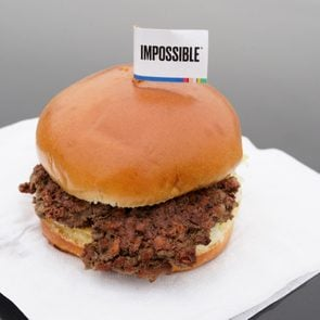 Impossible burger on a napkin.
