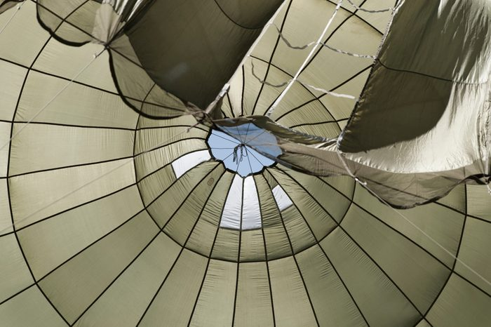 insight of a big paratrooper parachute from the second world war