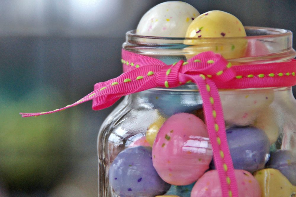 chocolate eggs in mason jar