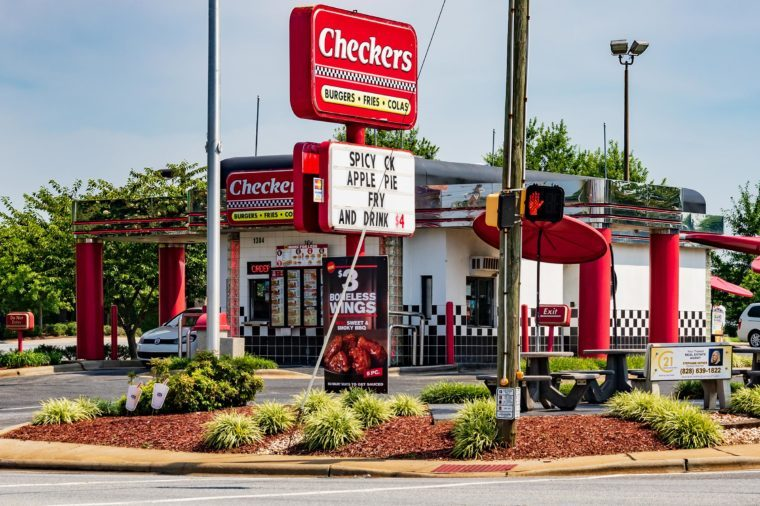 HICKORY, NC, USA-15 AUGUST 18: A Checkers Fast food restaurant, an American chain headquartered in Tampa, Florida.