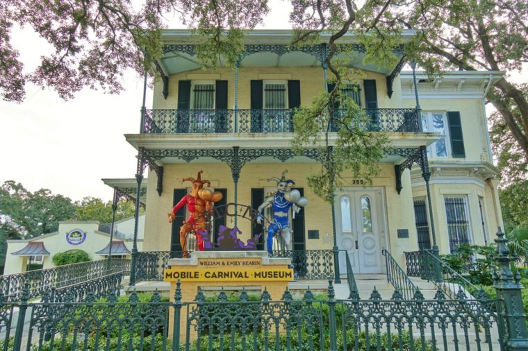 MOBILE, AL -25 AUG 2018- View of the Mobile Carnival Museum, located in the historic Bernstein-Bush mansion on Government Street in downtown Mobile, Alabama.