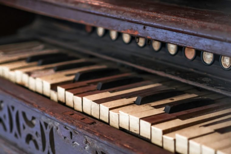 a historic old wooden piano keys and weathered wood keys