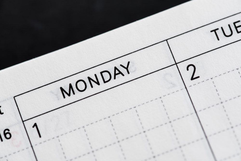 Monday, days of the week. Black and white macro shot of monthly planner - Image