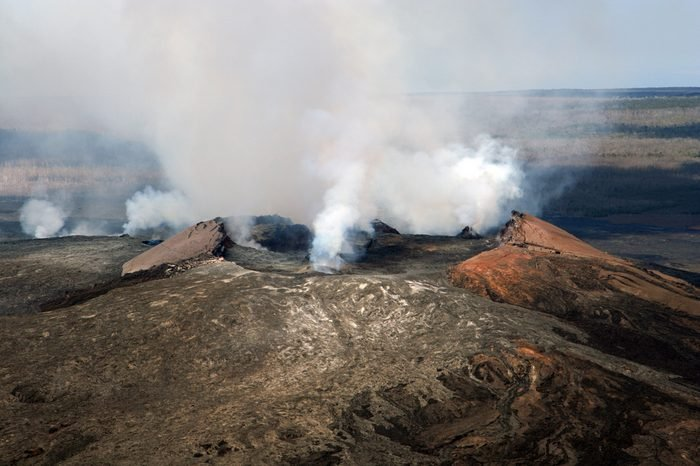 Kilauea Volcano taken from a helicopter.