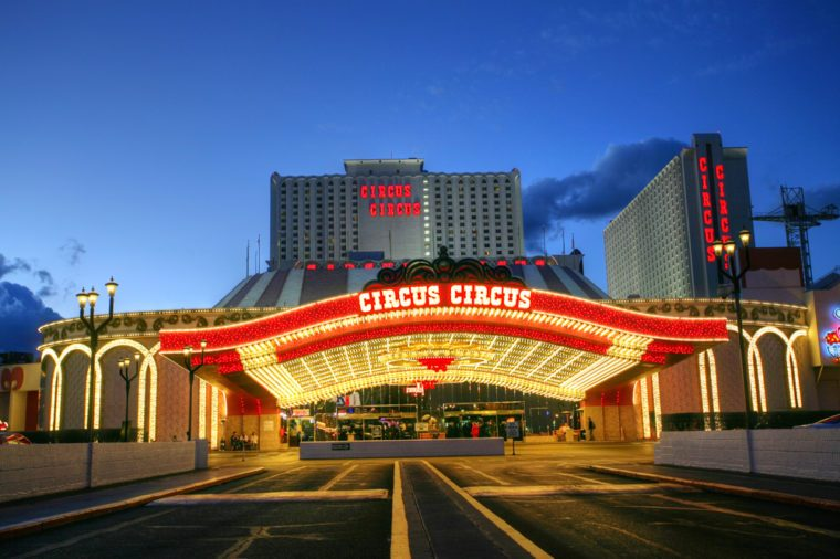 LAS VEGAS JANUARY 31: The Circus Circus hotel and casino on January 31, 2014 in Las Vegas.Circus Circus has the only RV park on the Strip providing additional accommodations in the 399 space park.