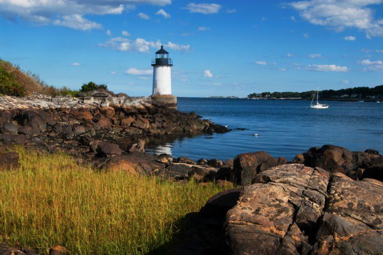 Fort Pickering (Winter Island) lighthouse in Salem, Massachusetts.