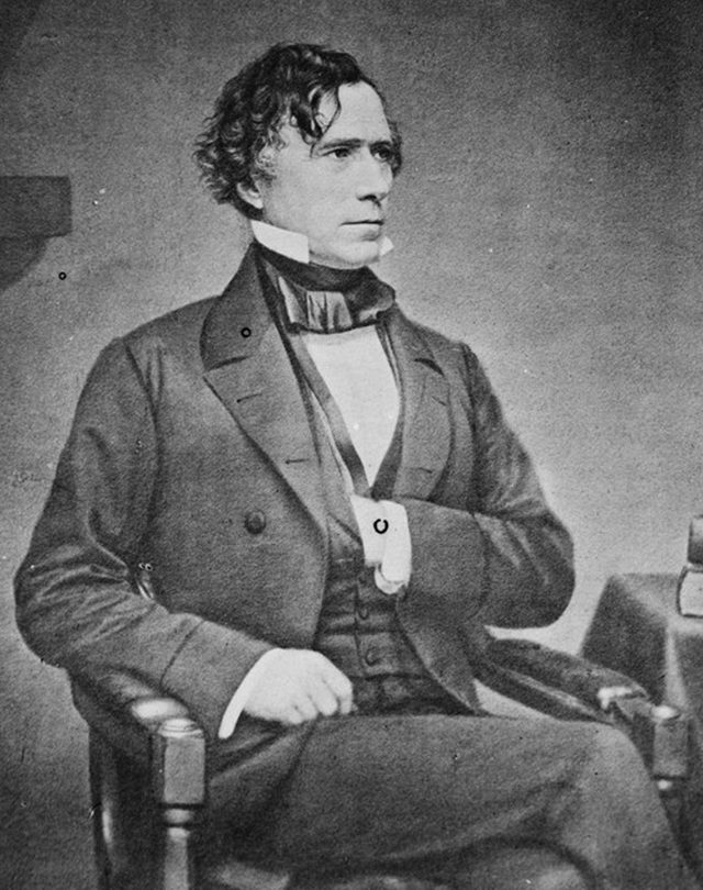 History Franklin Pierce (1804-1869) American lawyer and politician, 14th President of the United States 1853-1857 . Three-quarter length portrait of Pierce seated and looking towards the right, 1855-1865.
