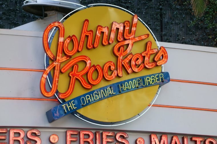 UNIVERSAL CITY, CA/USA DECEMBER 22, 2015: Johnny Rockets restaurant exterior and sign. Johnny Rockets is an American restaurant franchise.