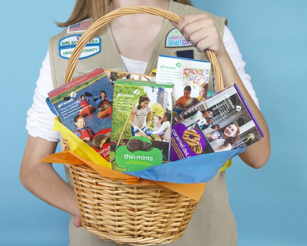 basket of girl scout cookies