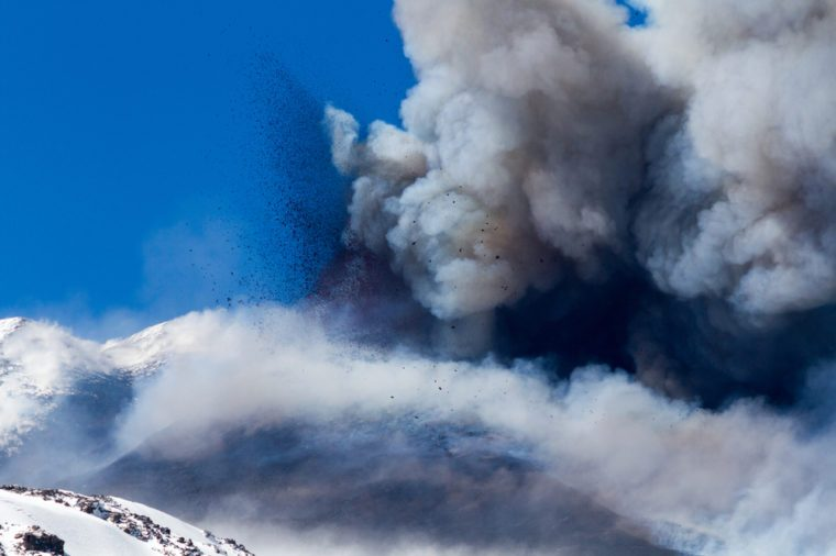 Volcano etna eruption with explosion and ash emission