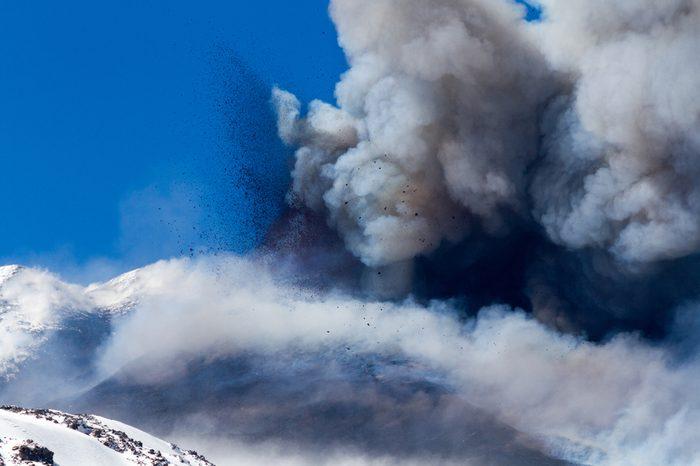 Volcano etna eruption with explosion and ash emission