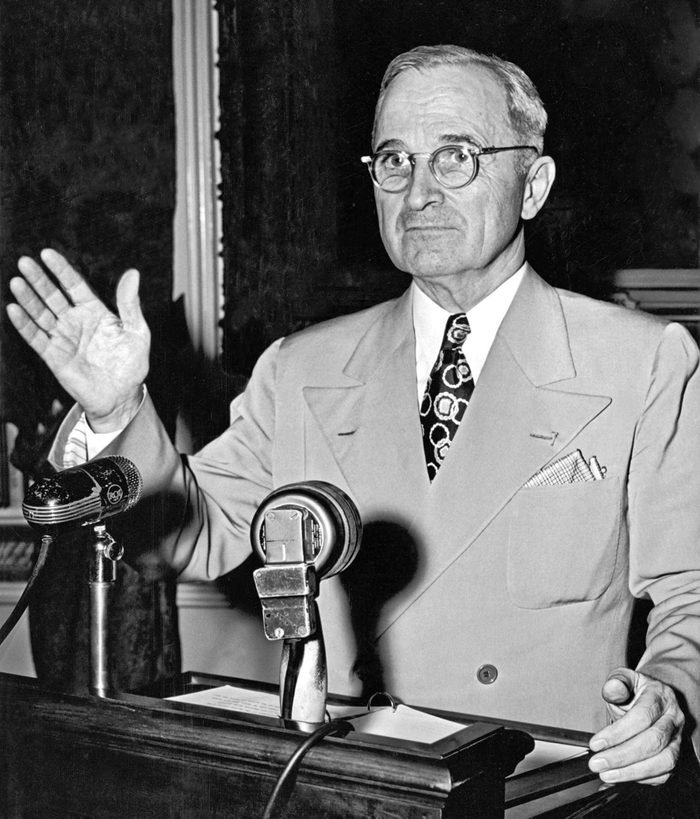 VARIOUS Washington, D.C.: May 24, 1946. Truman concluding a press conference about the ongoing railroad strike, declaring that if the workers were not back on the job the next day, he would call upon the armed forces to help run the railroad and protect the strike breakers.