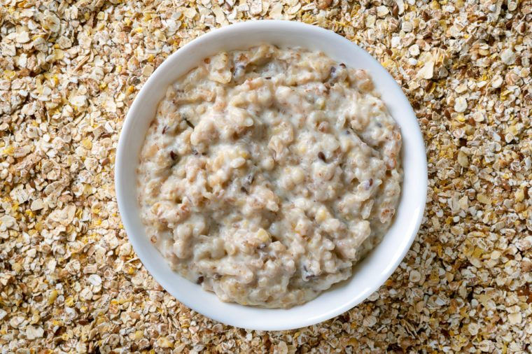 Seven grain porridge. Hot healthy cereal breakfast. Top view